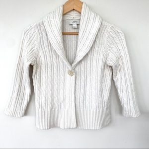 LOFT cropped cardigan with 3/4 length sleeves